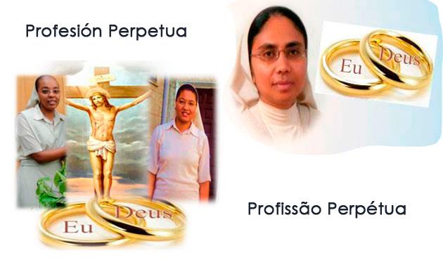 Pofissão Perpétua das irmãs Mª dos Anjos Semedo, Elisete Tavares e Francisca Soares